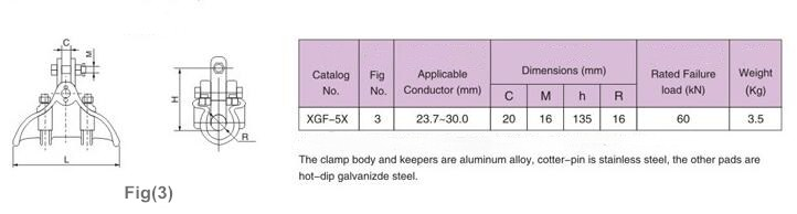 XGF Suspension Clamp Specification two