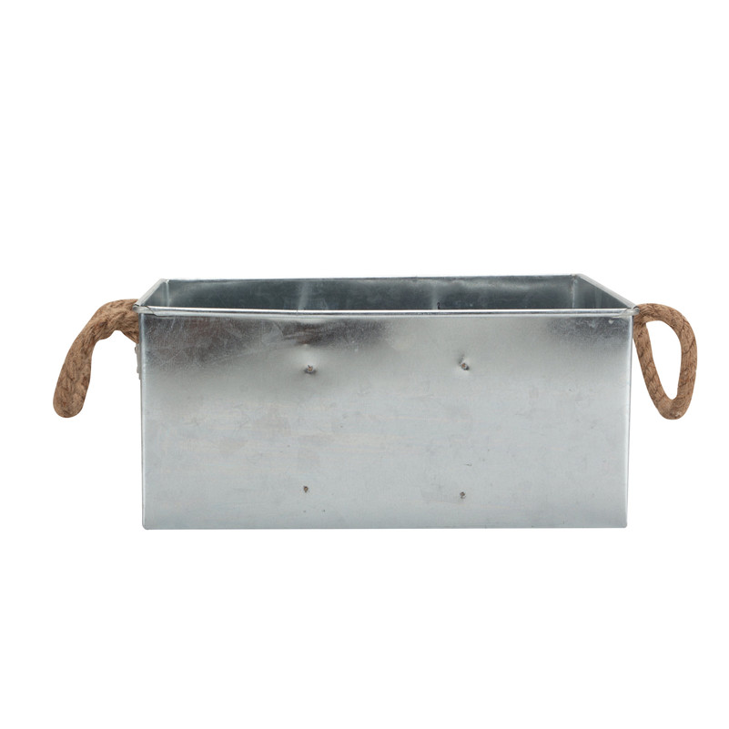 Galvanized Tin Plant Pot With Rope