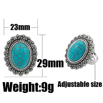 Women's Fashion Round Zircon Synthetic-Turquoise Ring