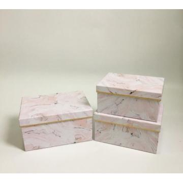 Marble pattern rectangle gift boxes with lids