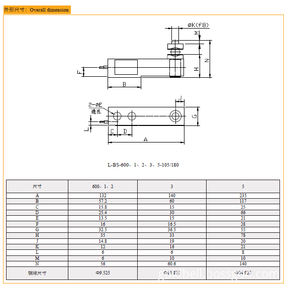 Drawing of L-BS high temperature load cell
