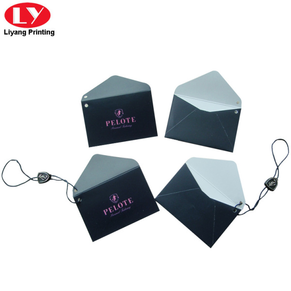 Envelope Shape Garment Swing Tag with plastic piece