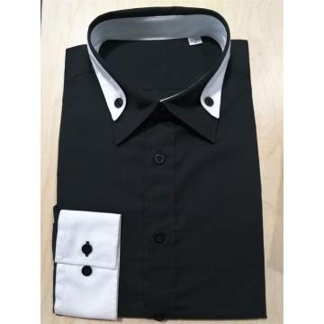 100%cotton men's black color long sleeve shirt