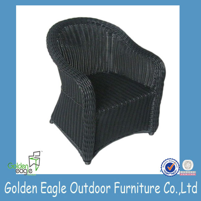 black wicker dining patio chair