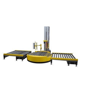 Roller pallet wrapping machine