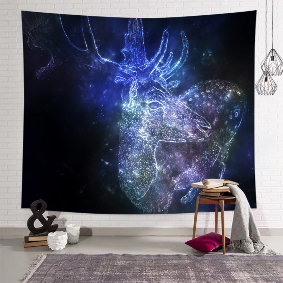 Bright Deer Tapestry Nature Animal Wall Hanging Navy Dreamy Tapestry for Livingroom Bedroom Home Dorm Decor