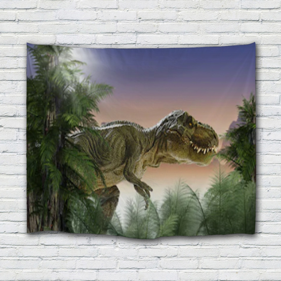 Dinosaur Tapestry Wild Anicient Animals Wall Hanging Tropical Rain Forest Jungle Natural 3D Wall Blanket for Children Bedroom Li