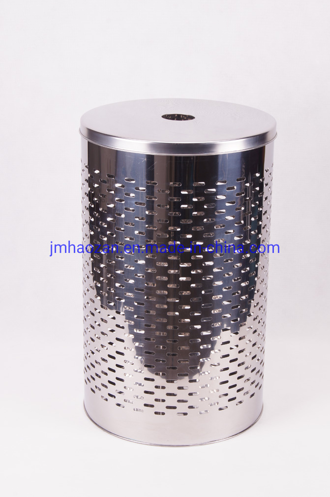 S/S Lid Stainless Steel Round Straight Body Laundry Basket