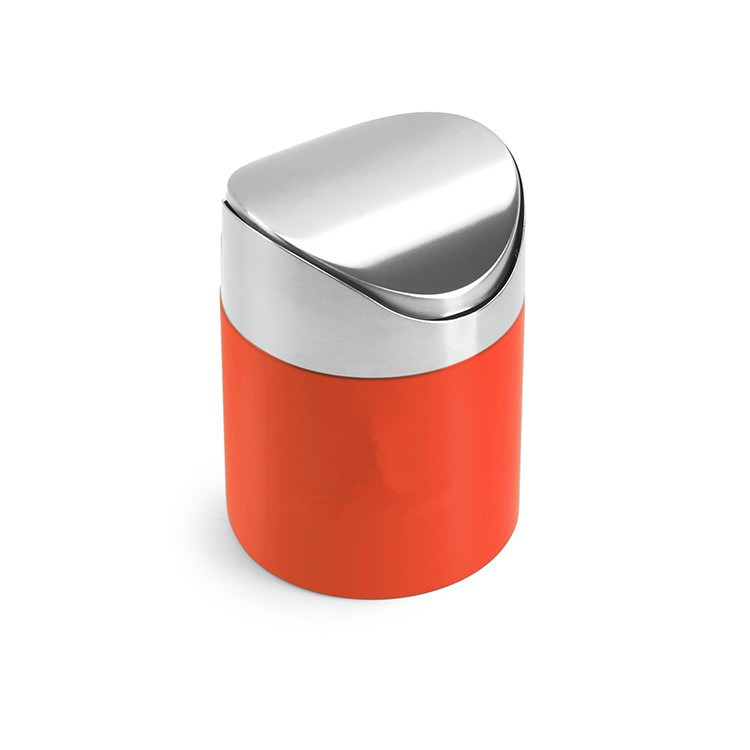 Colorful Desktop Stainless Steel Dustbin with Swing Lid, Dustbin