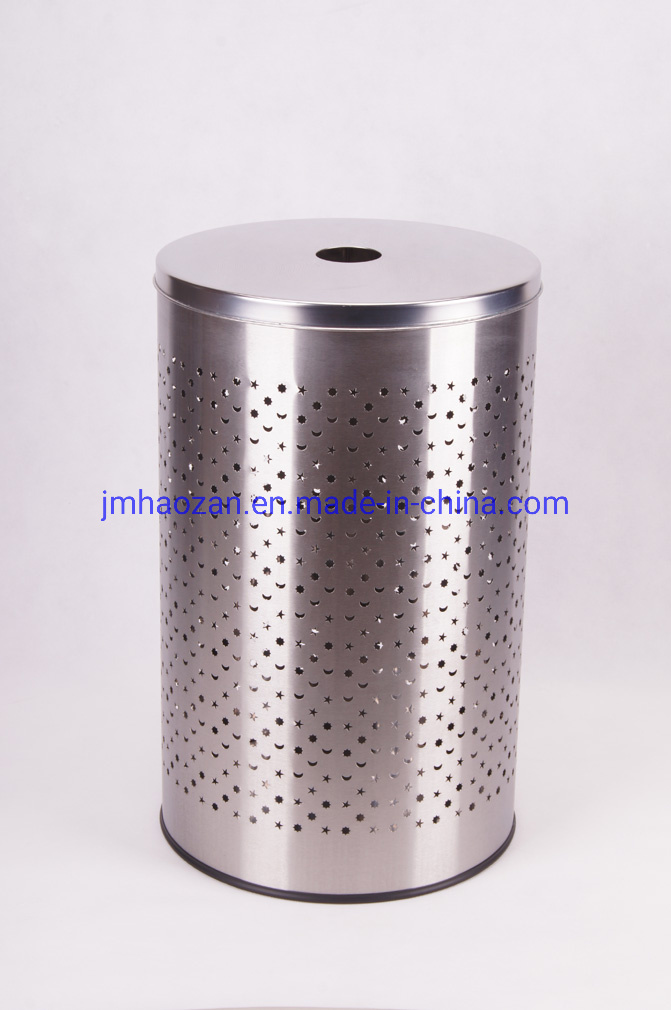 Stainless Steel Lid Stainless Steel Round Straight Body Laundry Basket with Stainless Steel Lid